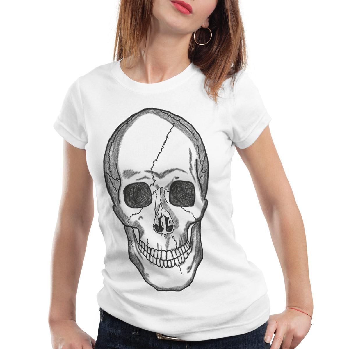 smiling skull damen t shirt totenkopf rocker punk style trend xs s m l xl xxl ebay. Black Bedroom Furniture Sets. Home Design Ideas
