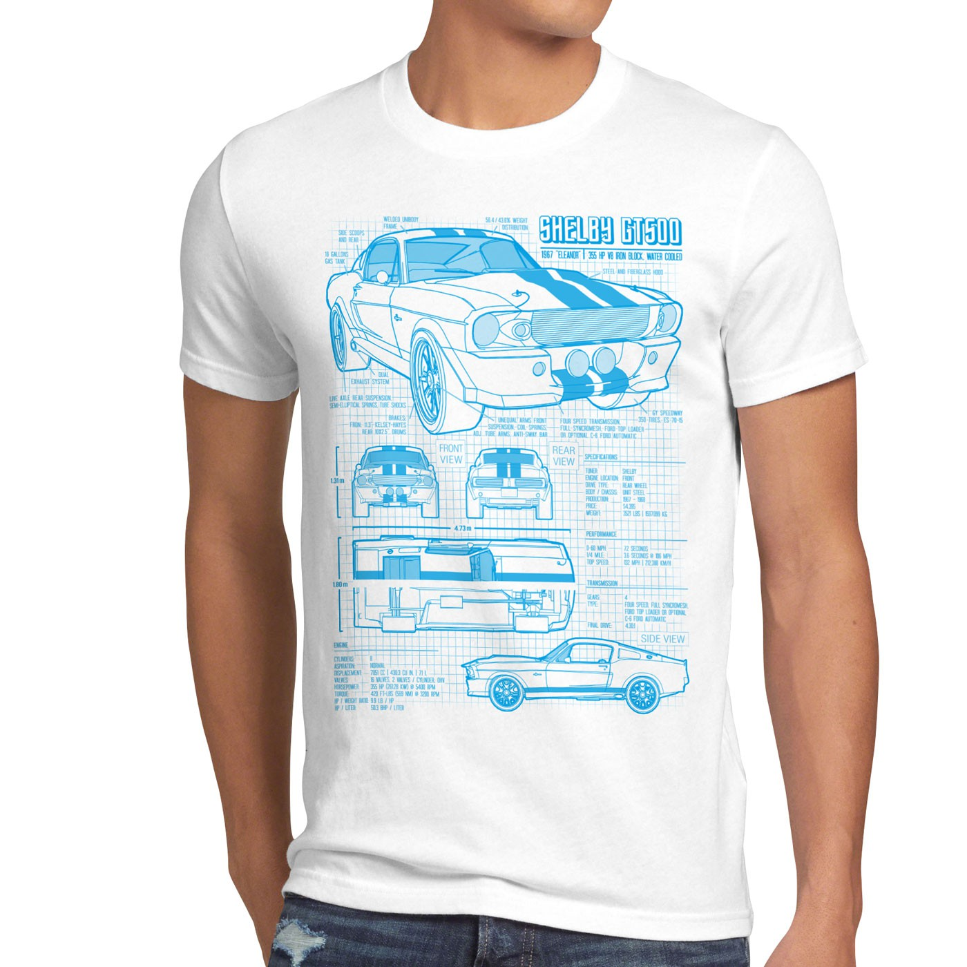 Blaupause GT 500 T-Shirt mustang muscle car motor ford auto us ...