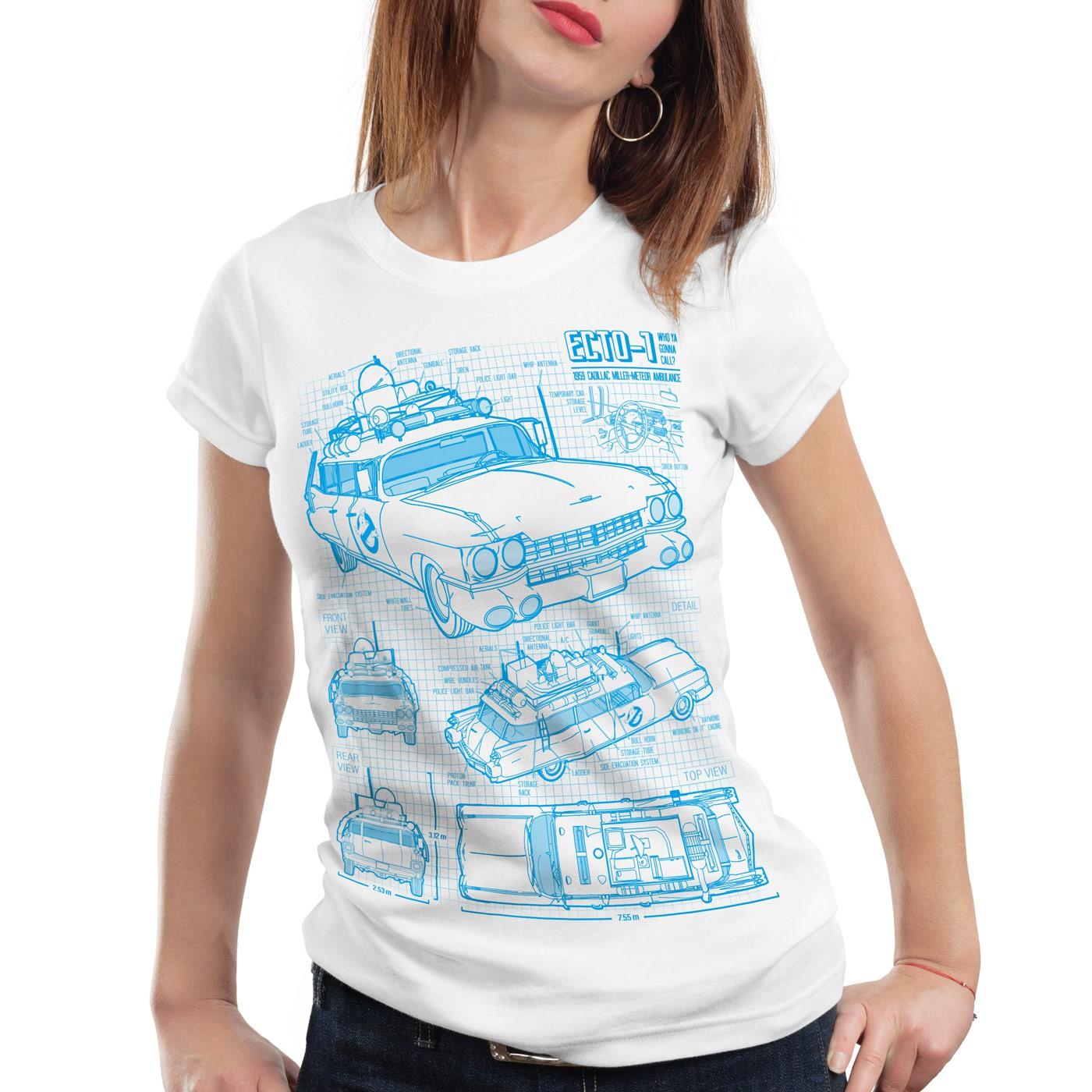 ECTO-1 Blaupause Damen T-Shirt busters geisterjäger ghost slimer ...