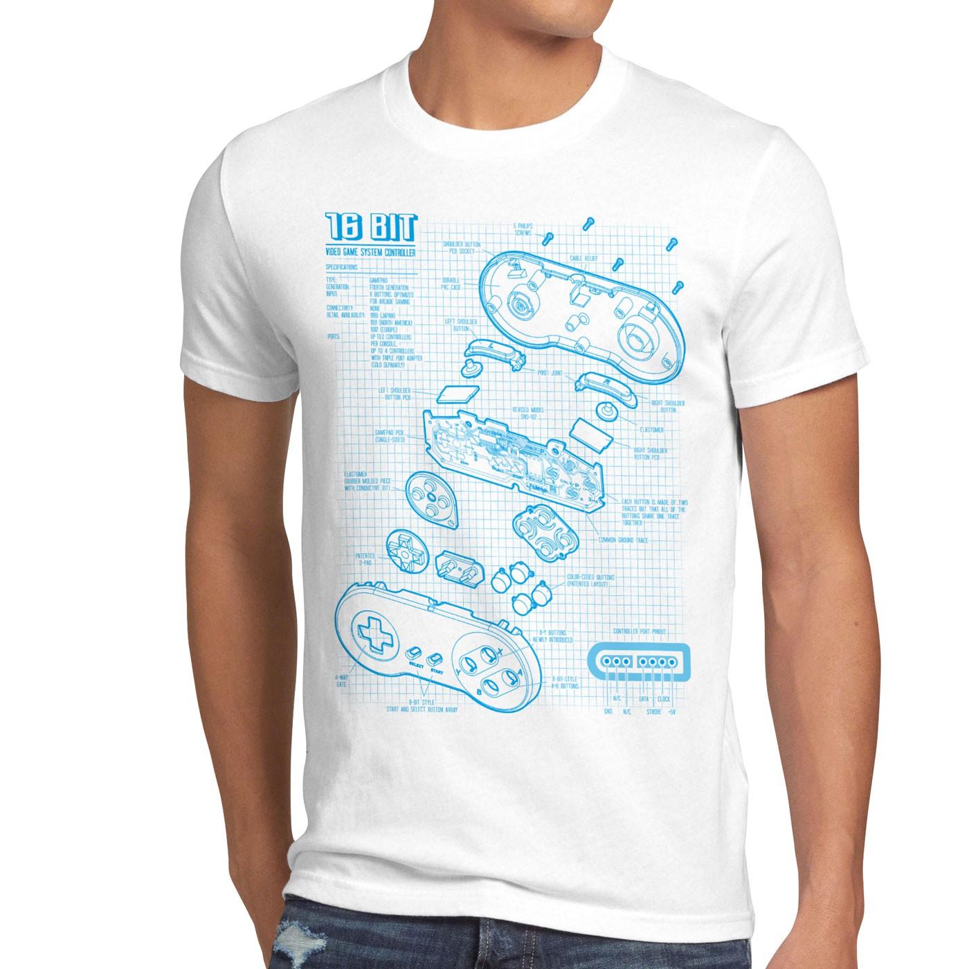 16 Bit Controller Blaupause T-Shirt boy zelda mario game gamer spiel ...