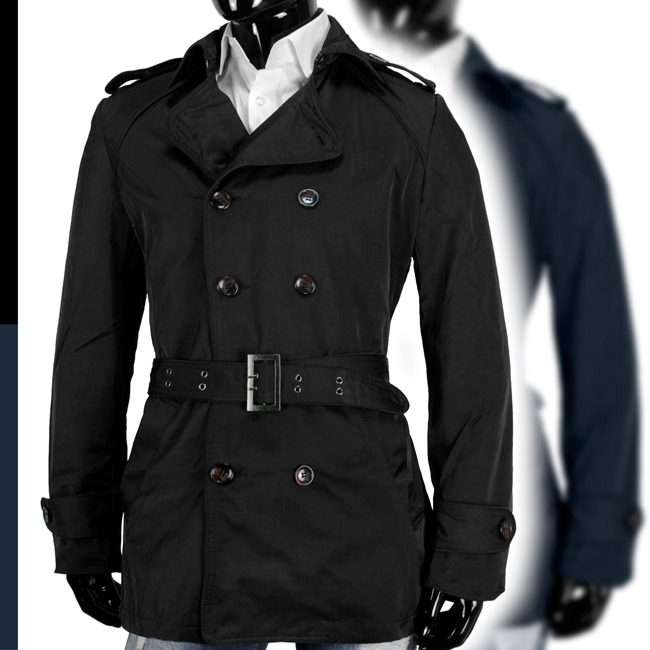 y r designer trenchcoat herren mantel zweireiher coat jacke schwarz marine blau ebay. Black Bedroom Furniture Sets. Home Design Ideas