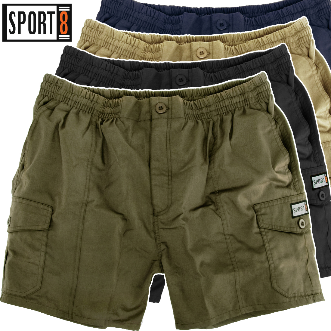 herren shorts cargo shorts kurze hose elastischer bund. Black Bedroom Furniture Sets. Home Design Ideas