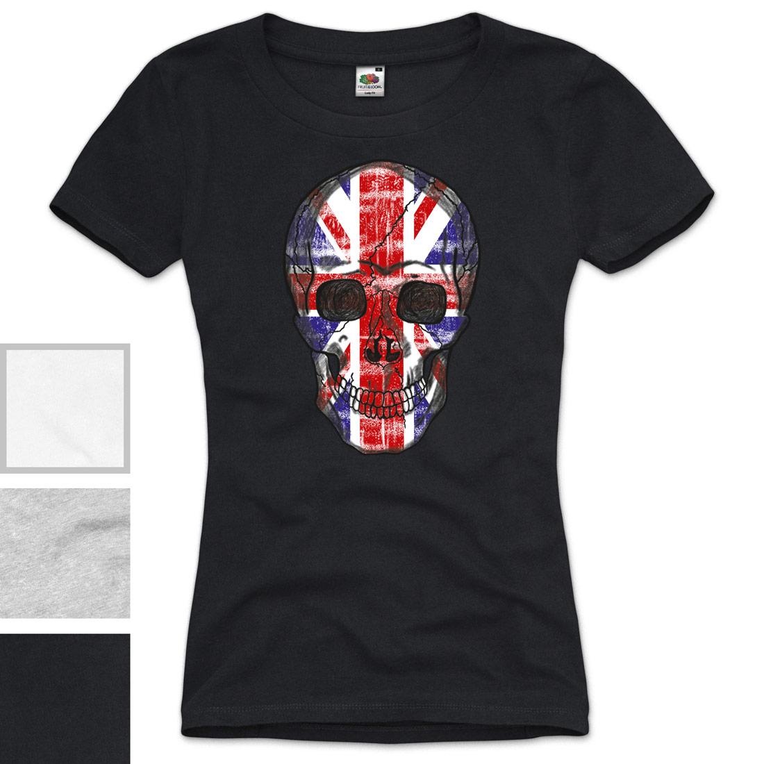 gb skull damen t shirt union jack england great britain. Black Bedroom Furniture Sets. Home Design Ideas