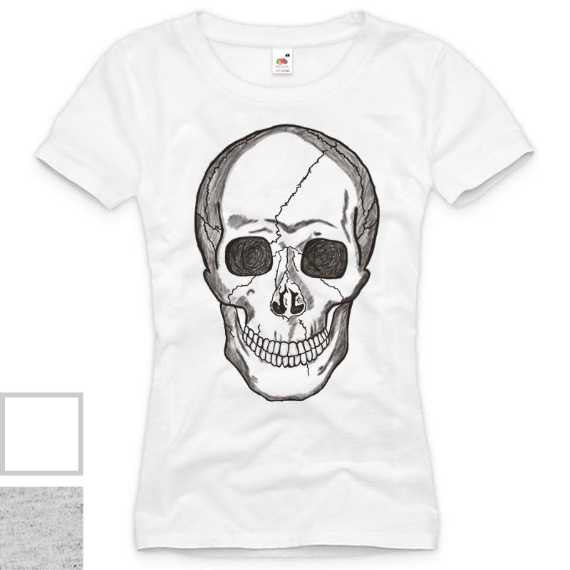 Smiling-Skull-Damen-T-Shirt-Totenkopf-Rocker-Punk-Style-Trend-XS-S-M-L-XL-XXL