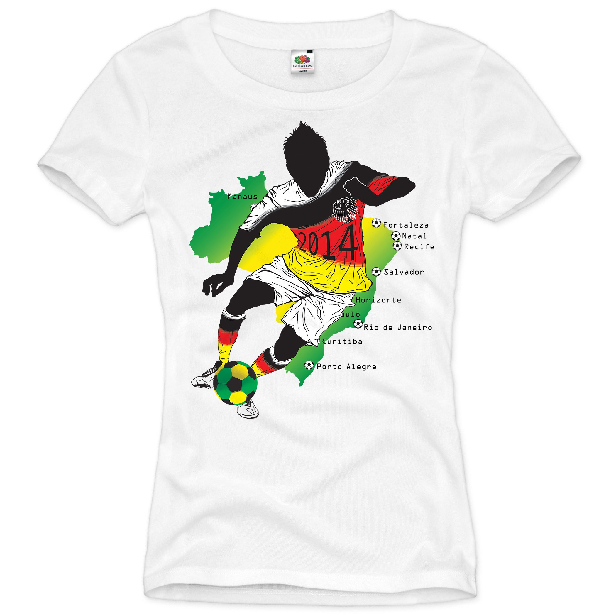wm 2014 t shirt damen brasilien fu ball deutschland fan sport trikot germany neu ebay. Black Bedroom Furniture Sets. Home Design Ideas