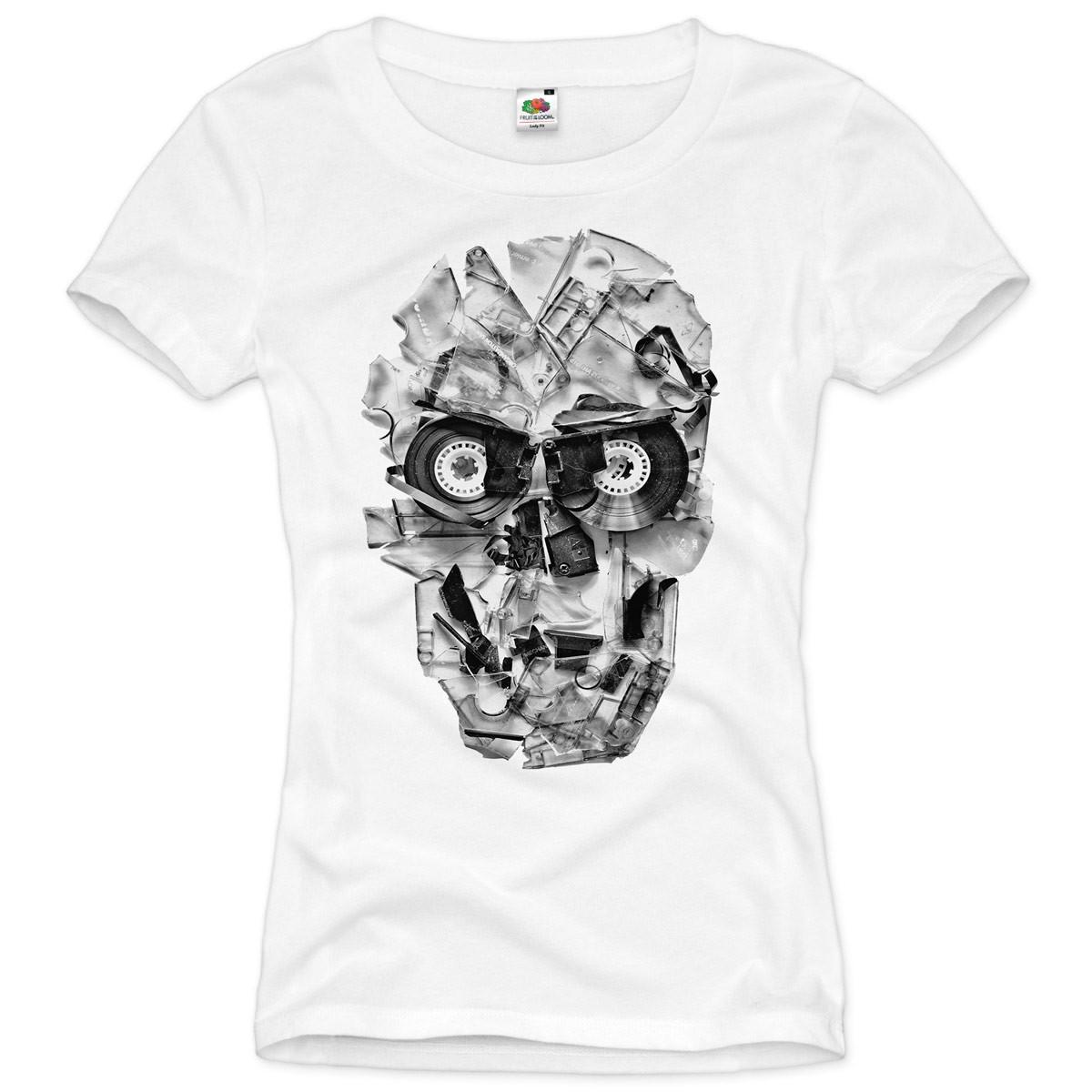dj skull damen t shirt tape 80er kassette foto tape totenkopf biker retro tattoo. Black Bedroom Furniture Sets. Home Design Ideas