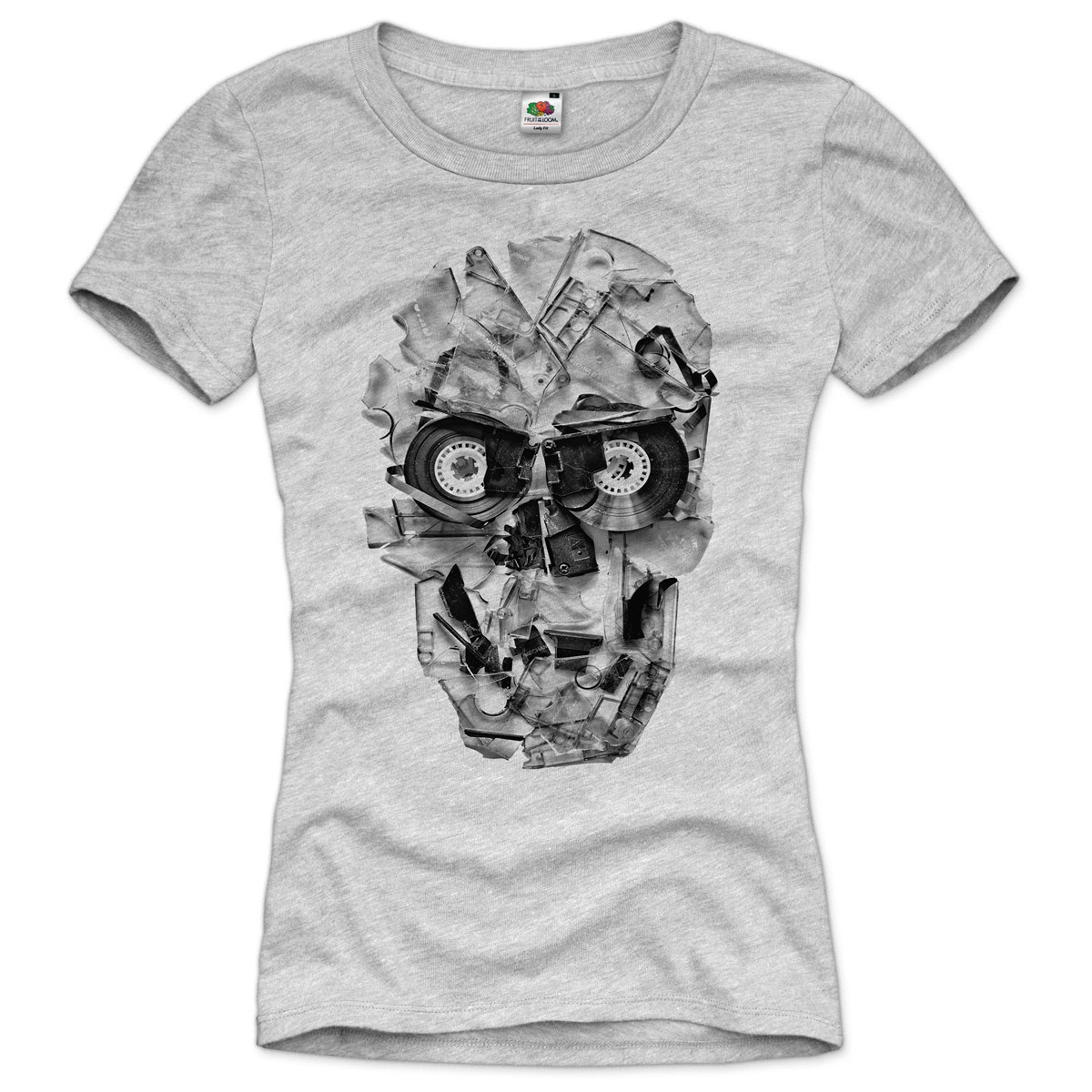 dj skull damen t shirt tape 80er kassette foto tape. Black Bedroom Furniture Sets. Home Design Ideas